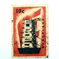 Sellos: SELLO POSTAL PAISES BAJOS HOLANDA 1956, 10 C,C.E.P.T. RECONSTRUYENDO EUROPA ,USADO. Lote 244720530