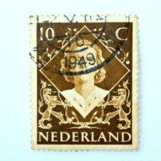 Sellos: SELLO POSTAL PAISES BAJOS HOLANDA 1948, 10 C, REINA JULIANA , USADO. Lote 244722715