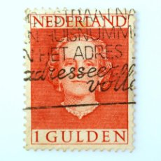 Sellos: SELLO POSTAL PAISES BAJOS HOLANDA 1949, 1 C, REINA JULIANA ,TYPE 'EN FACE' , USADO. Lote 244727290