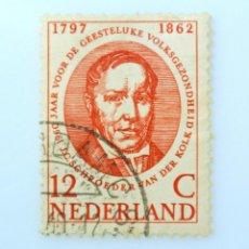 Sellos: SELLO POSTAL PAISES BAJOS HOLANDA 1960, 12 C, PSIQUIATRA JOHANNES SCHROEDER VAN DER KOLK, USADO. Lote 244728525