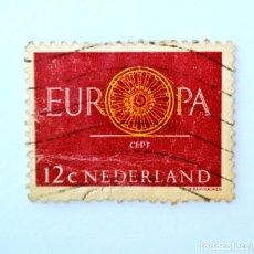 Sellos: SELLO POSTAL PAISES BAJOS HOLANDA 1960, 12 C, C.E.P.T. EUROPA , RUEDA, CONMEMORATIVO, USADO. Lote 244794265
