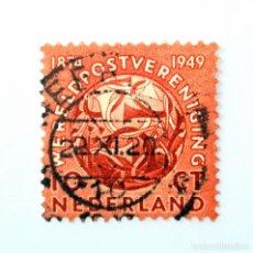 Sellos: SELLO POSTAL PAISES BAJOS HOLANDA 1949,10 C,GLOBO CON POSTHORNS, GRÁFICO DE M.C. ESCHER,U.P.U, USADO. Lote 244867645