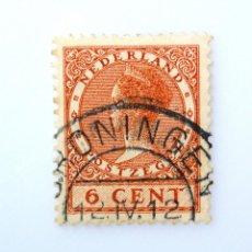 Sellos: SELLO POSTAL PAISES BAJOS HOLANDA 1926,10 C, REINA WILHELMINA - TYPE VETH, USADO. Lote 244869580