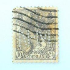 Sellos: SELLO POSTAL PAISES BAJOS HOLANDA 1899,10 C, REINA WILHELMINA ,PERFORACIÓN N-M, USADO. Lote 244871370