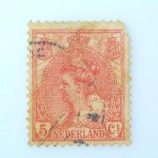 Sellos: SELLO POSTAL PAISES BAJOS HOLANDA 1899, 5 C, REINA WILHELMINA, USADO. Lote 244872325