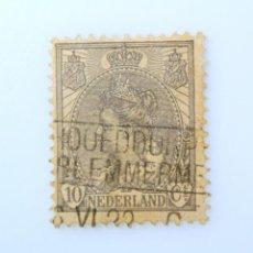 Sellos: SELLO POSTAL PAISES BAJOS HOLANDA 1922, 10 C, REINA WILHELMINA, USADO. Lote 244874110