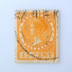 Sellos: SELLO POSTAL PAISES BAJOS HOLANDA 1934, 15 C, REINA WILHELMINA, TYPE VETH, USADO. Lote 244893780