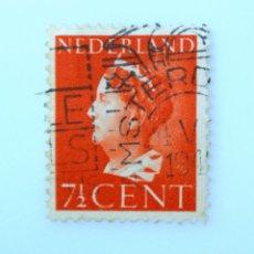 Sellos: SELLO POSTAL PAISES BAJOS HOLANDA 1940, 7 1/2 C, REINA WILHELMINA, TIPO 'KONIJNENBURG' , USADO. Lote 244897280