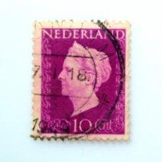 Sellos: SELLO POSTAL PAISES BAJOS HOLANDA 1947, 10 C, REINA WILHELMINA, TIPO 'HARTZ' , USADO. Lote 244929115