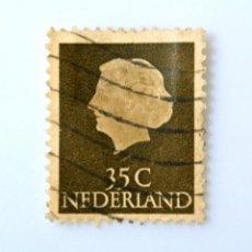 Sellos: SELLO POSTAL PAISES BAJOS HOLANDA 1954, 35 C, REINA WILHELMINA, TIPO 'EN PROFILE' , USADO. Lote 244932935