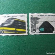 Sellos: HOLANDA, 1964, 125 ANIVERSARIO FERROCARRILES HOLANDESES, YVERT 798/9. Lote 245546490