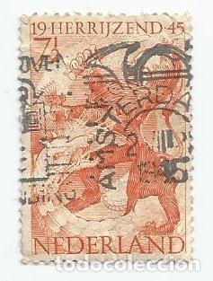 SELLO USADO DE PAISES BAJOS DE 1945-LIBERACION-LEON Y DRAGON-YVERT 433-VALOR 7 Y 1/2 CENTIMO HOLANDA (Sellos - Extranjero - Europa - Holanda)