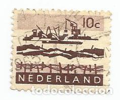 SELLO USADO PAISES BAJOS DE 1966- TRABAJOS EN EL DELTA - YVERT 761 -VALOR 10 CENTIMOS HOLANDES- (Sellos - Extranjero - Europa - Holanda)
