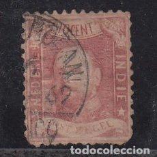Sellos: INDIA HOLANDESA ..2 MARGENES FALTA DIENTE ESQUINA INFERIOR IZQUIERDA Y DERECHA USADA,. Lote 257297105
