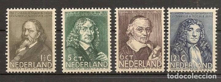 HOLANDA YVERT 295/298** MNH SERIE COMPLETA HOMBRES CÉLEBRES 1937 NL564 (Sellos - Extranjero - Europa - Holanda)