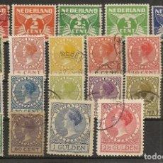 Sellos: HOLANDA YVERT 133/152A (*)/(º) SERIE CORTA 21 VALORES 1924/1927 NL591. Lote 261909245