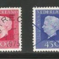 Sellos: HOLANDA / PAÍSES BAJOS - 1971 - 76 - LOTE 6 SELLOS BASICOS DE LA REINA JULIANA - USADOS. Lote 295830083