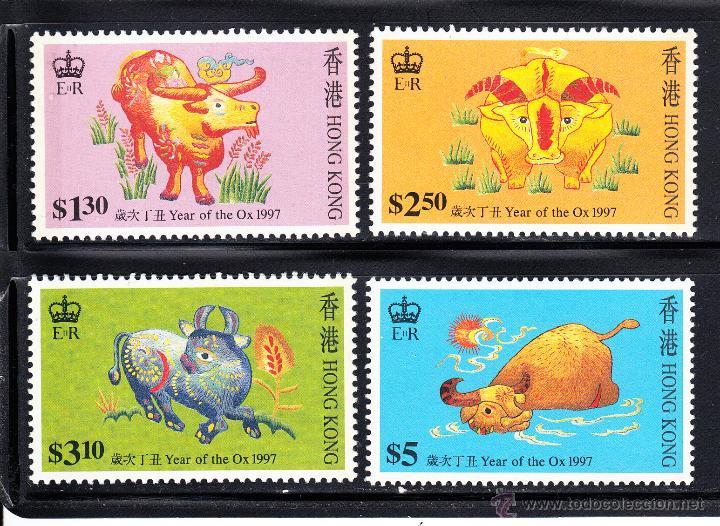 HONG KONG 810/13** - AÑO 1997 - AÑO NUEVO CHINO - AÑO DEL BUFALO (Sellos - Extranjero - Asia - Hong Kong)