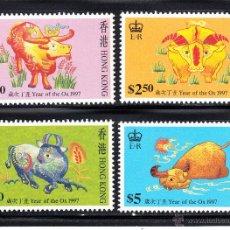 Sellos: HONG KONG 810/13** - AÑO 1997 - AÑO NUEVO CHINO - AÑO DEL BUFALO. Lote 202499371