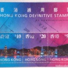 Sellos: HONG KONG, HOJA BLOQUE DE 3 SELLOS. Lote 93945185
