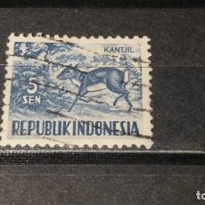 Sellos: SELLO USADO REPUBLICA DE INDONESIA. AÑO 1956 ANIMALES.KANTJIL. Lote 101675151