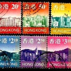 Sellos: HONG KONG (1997) YT: 818/21-23-26/29(SE-TENANT)-30 (FLUORESCENTES) (HORIZONTE DE HONG KONG) USADO. Lote 145376234