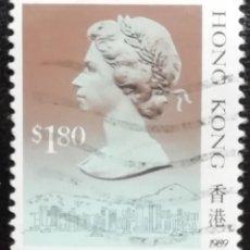 Sellos: 1989. HISTORIA. HONG KONG. 569. RETRATO DE ISABEL II. USADO.. Lote 169937968