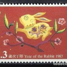 Sellos: HONG-KONG 1987 - AÑO NUEVO CHINO, AÑO DEL CONEJO - SELLO USADO. Lote 210655620