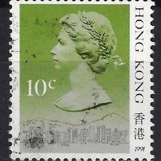 Sellos: HONG-KONG 1987 - REINA ISABEL II, 10 CENTS VERDE - SELLO USADO. Lote 210655736