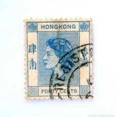 Sellos: SELLO POSTAL HONG KONG 1954, 40 CT, REINA ELIZABETH II, USADO. Lote 241094720