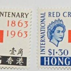 Sellos: HONG KONG - RED CROIX CENTENARY / 1863-1963 / CENTENARIO CRUZ ROJA - 2 SELLOS NUEVOS. Lote 253756415