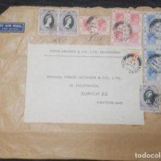 Sellos: O) 1953 HONG KONG, REY GEORGE VI, REINA VICTORIA, CORREO AÉREO, SIBER HEGNER Y CO, A SUIZA.. Lote 261988925