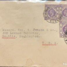 Sellos: O) 1937 HONG KONG, KING GEORGE V SCT 134 5C VIOLETA, VICTORIA CANCELACIÓN, CIRCULADA A EE. UU., XF. Lote 294086173