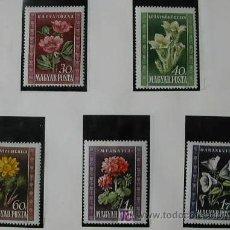 Sellos: HUNGRIA AÑO 1950 SERIE DE 5 SELLOS DE FLORES - YVERT Nº 963/967. Lote 25449653