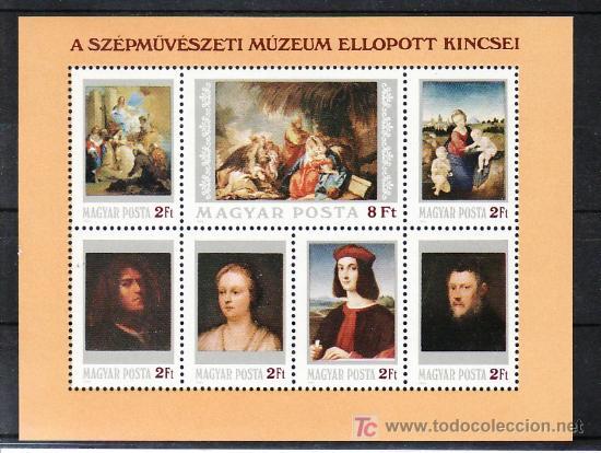HUNGRIA HB 173 SIN CHARNELA, PINTURA, RELIGION, MUSEO DE BELLAS ARTES DE BUDAPEST (Sellos - Extranjero - Europa - Hungría)