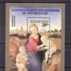 Sellos: HUNGRIA HB 167 SIN CHARNELA, PINTURA, 5º CENTENARIO DEL NACIMIENTO DE RAPHAEL, . Lote 8989900