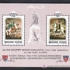 Sellos: HUNGRIA HB 161 SIN CHARNELA, EE.UU., PINTURA, 250 ANIVERSARIO NACIMIENTO GEORGE WASHINGTON, . Lote 8990013