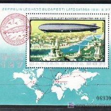 Sellos: HUNGRIA HB 133 SIN CHARNELA, ZEPPELIN SOBREVOLANDO BUDAPEST, HISTORIA DEL DIRIGIBLE, . Lote 12038604