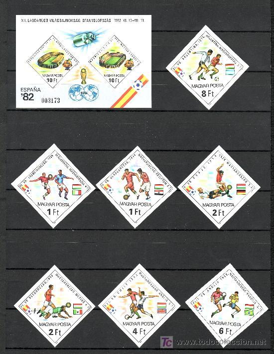 HUNGRIA 2798/804, HB 158 SIN DENTAR, SIN CHARNELA, ESPAÑA 82, COPA DEL MUNDO DE FUTBOL, (Sellos - Extranjero - Europa - Hungría)