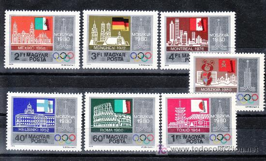 HUNGRIA 2675/81 SIN CHARNELA, DEPORTE, JUEGOS OLIMPICOS DE MOSCU, EDIFICIOS DIFERENTES CIUDADES OLIM (Sellos - Extranjero - Europa - Hungría)