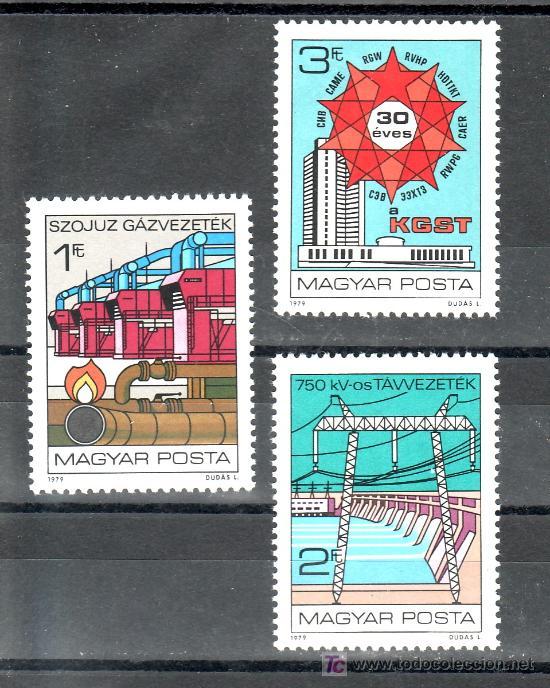 HUNGRIA 2663/5 SIN CHARNELA, GAS, ELECTRICIDAD, 30º ANIVERSARIO DEL COMECON, (Sellos - Extranjero - Europa - Hungría)
