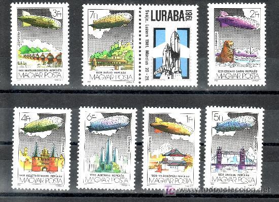 HUNGRIA A 443/9 SIN CHARNELA, ZEPPELIN, LURABA 1981, 1ª EXP. INTERNACINAL AVIACION Y ASTROFILATELIA, (Sellos - Extranjero - Europa - Hungría)