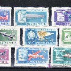 Sellos: HUNGRIA A 232/40 SIN CHARNELA, HISTORIA DE LA AVIACION, AVION, ZAPPELIN, HELICOPTERO, DIRIGIBLE, . Lote 21097884