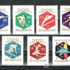Sellos: HUNGRIA 1353/9 SIN CHARNELA, DEPORTE, JUEGOS OLIMPICOS DE INVIERNOS EN SQUAW VALLEY . Lote 154968188
