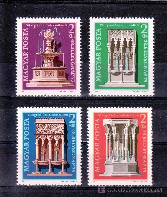 HUNGRIA 2447/50 SIN CHARNELA, DIA DEL SELLO Y PROTECCION MONUMENTOS, FUENTES DEL PALACIO VISEGRAD (Sellos - Extranjero - Europa - Hungría)