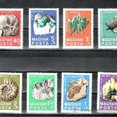 Sellos: HUNGRIA 2056/63 CON CHARNELA, MINERALES, FOSILES, CENTENARIO INSTITUTO NACIONAL DE GEOLOGIA, . Lote 21438561