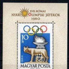 Sellos: HUNGRÍA AÑO 1960 YV HB 36*** JUEGOS OLÍMPICOS DE ROMA - DEPORTES - ESCULTURA - ARTE. Lote 26906593