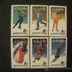 Sellos: HUNGRIA 1987 IVERT 3135/40 *** JUEGOS OLIMPICOS DE INVIERNO 1988 EN CALGARY - DEPORTES. Lote 32257385