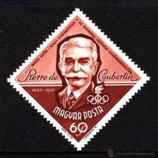 Sellos: HUNGRÍA 1578** - AÑO 1963 - CENTENARIO DEL NACIMIENTO DE PIERRE DE COUBERTIN . Lote 40448036