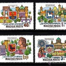 Sellos: HUNGRIA 2051/54** - AÑO 1969 - CIUDADES HUNGARAS DEL DANUBIO . Lote 40800818